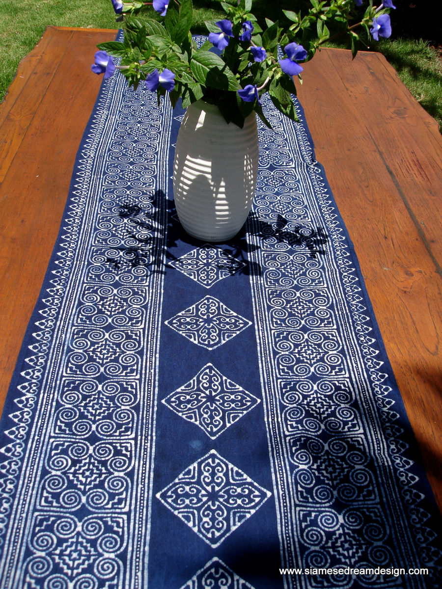 Table Runner In Natural Hmong Indigo Blue Batik  - product images  of