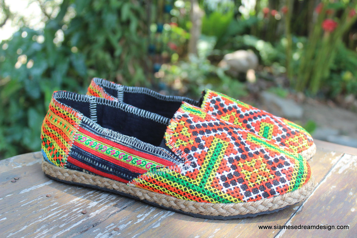 Morgan Colorful Womens Loafers In Orange And Red Hmong Embroidery - product images  of