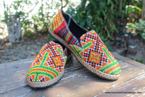 Morgan,Colorful,Womens,Loafers,In,Orange,And,Red,Hmong,Embroidery,Clothing,Shoes,Womens Loafers,Vegan espadrilles,ethnic_shoes,casual_shoes,womens_shoes,Hmong_shoes,womens_flats,embroidered_shoes,Bohemian,7_5,summer_shoes,rubber sole,vegan,Hmong embroidered cotton,rope trim