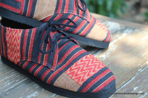 Maddie,Womens,Tribal,Oxford,In,Red,And,Black,Naga,Textiles,womens shoes, vegan womens shoes, ethnic shoes, handmade womens oxfords, eco friendly shoes, fair trade, womens ethnic fashion, womens Tribal shoes