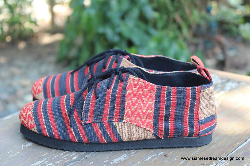 Maddie Womens Tribal Oxford In Red And Black Naga Textiles - product images  of