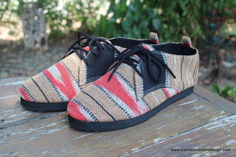 Maddie,Womens,Tribal,Oxford,In,Tan,And,Salmon,Karen,Textiles,womens shoes, vegan womens shoes, ethnic shoes, handmade womens oxfords, karen textiles, eco friendly shoes, fair trade, womens ethnic fashion, womens Tribal shoes