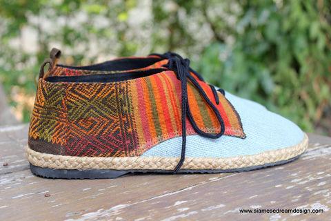 Alex,Blue,Hemp,Mens,Oxford,With,Laos,Embroidery,,Vegan,mens shoes, vegan mens shoes, ethnic shoes, mens hemp shoes, handmade mens oxfords, eco friendly shoes, fair trade, mens fashion