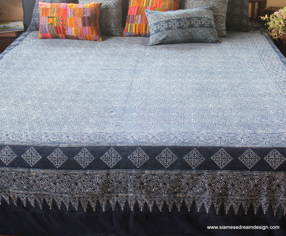 King Duvet Cover - Natural Hmong Indigo Batik Cotton  - product images  of