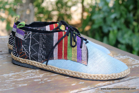 Alex,Laos,Embroidered,Blue,Hemp,Mens,Vegan,Oxford,mens shoes, vegan mens shoes, ethnic shoes, mens hemp shoes, handmade mens oxfords, eco friendly shoes, fair trade, mens fashion