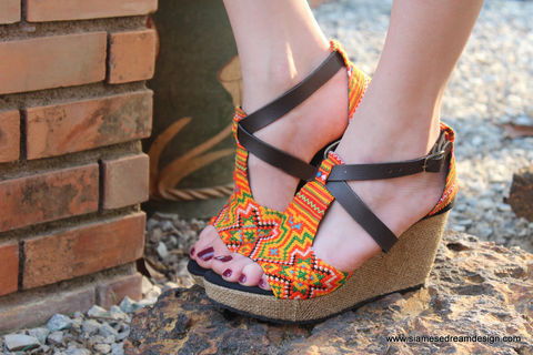 Leighanna,Womens,Tangerine,Ethnic,Wedge,Heel,Sandals,In,Hmong,Embroidery, Siamese Dream Design, vegan shoes, womens ethnic sandals, Hmong shoes, orange sandals, handmade shoes, fair trade, eco friendly fashion,womens