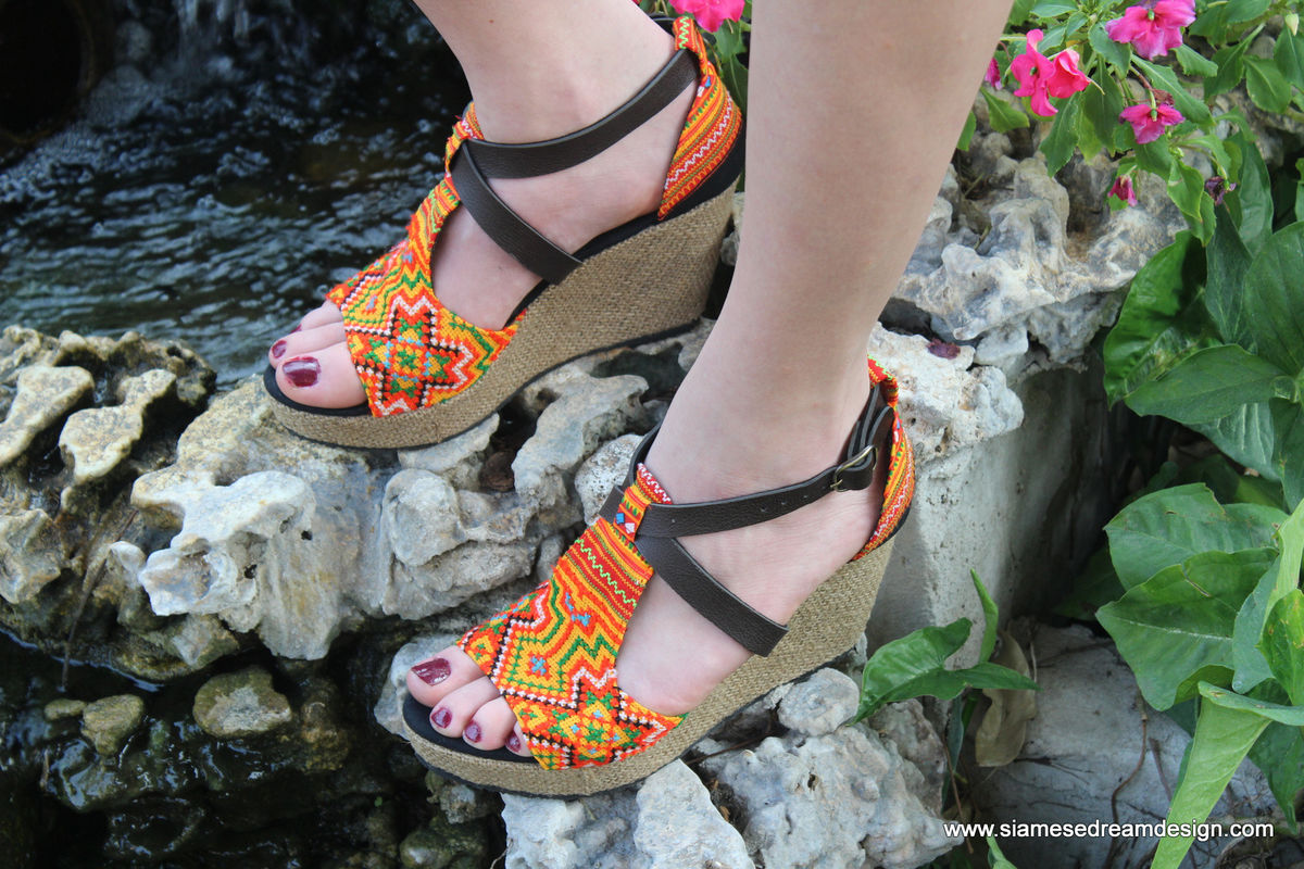Leighanna Womens Tangerine Ethnic Wedge Heel Sandals In Hmong Embroidery - product images  of