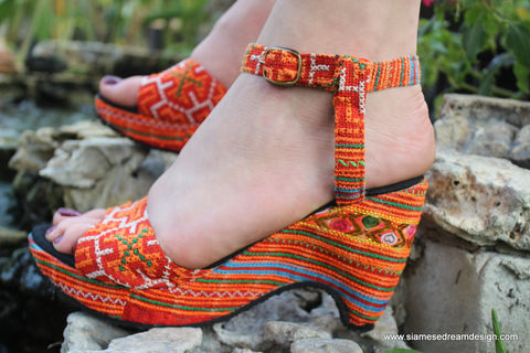 Chelsea,-,Womens,Cut,Out,Wedge,Heel,Sandals,Tangerine,Hmong,Embroidery, Siamese Dream Design, vegan shoes, womens ethnic sandals, Hmong shoes, orange sandals, handmade shoes, fair trade, eco friendly fashion,womens