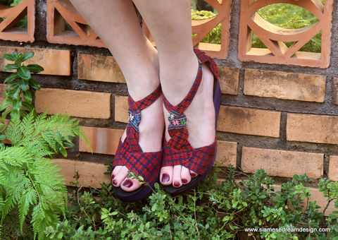 Hilary,Womens,T,Strap,Wedge,Heel,Sandals,Purple,And,Red,Karen,Hand,Woven,Textiles, Siamese Dream Design shoes, vegan shoes, womens ethnic sandals, womens purple wedge heel sandals, purple sandals, boho sandals, womens handmade shoes, fair trade, eco friendly fashion,womens