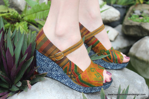 Maggie,Womens,Mary,Janes,In,Vintage,Laos,Embroidery,With,Indigo,Batik,Wedge,Heels,And,Peep,Toe,womens peep toe Mary Jane wedge, Womens wedge shoes, womens wedge heel sandals, Hmong shoes, fabric covered wedge heel womens shoes, womens boho shoes