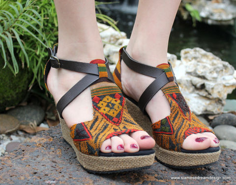 Womens,Ethnic,Wedge,Heel,Sandals,Earthy,Laos,Embroidery,-,Leighanna, Siamese Dream Design, Hmong shoes,vegan shoes, womens ethnic sandals, tribal shoes, vegan sandals,handmade shoes, fair trade, eco friendly fashion,womens