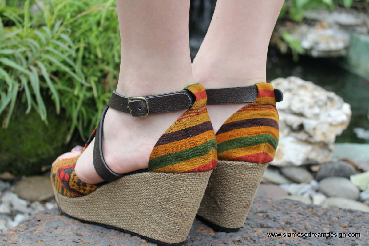 Womens Ethnic Wedge Heel Sandals Earthy Laos Embroidery - Leighanna - product images  of