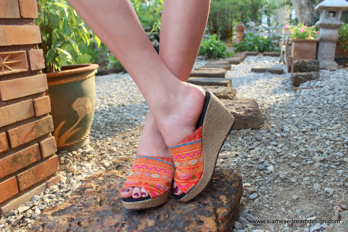 Orange Womens Mule Boho Wedge Heel Shoe - Sophie  - product images  of
