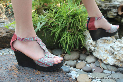Hilary,T,Strap,Womens,Wedge,Heel,Sandals,Karen,Hand,Woven,Textiles, Siamese Dream Design shoes, vegan shoes, womens ethnic sandals, womens purple wedge heel sandals, purple sandals, boho sandals, womens handmade shoes, fair trade, eco friendly fashion,womens