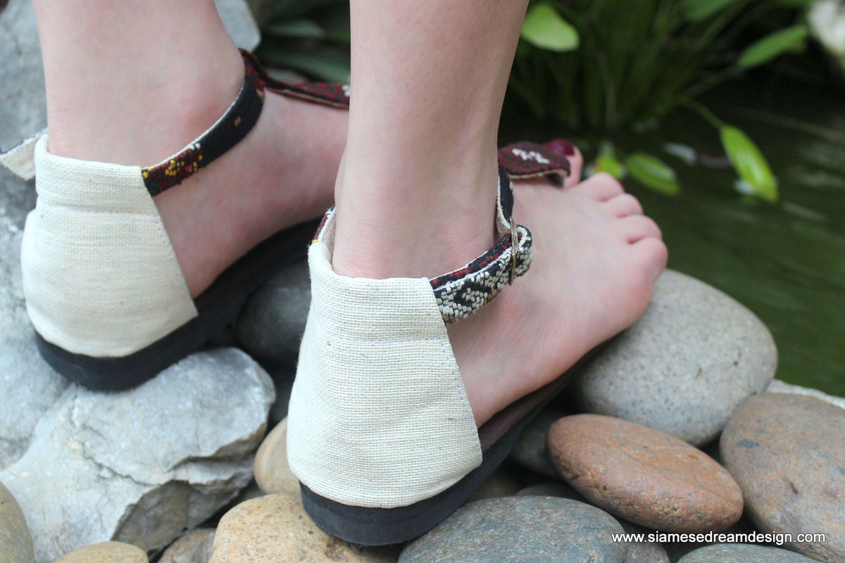 Sita - T Strap Womens Sandals In Hand Woven Burmese Kachin Textiles  - product images  of