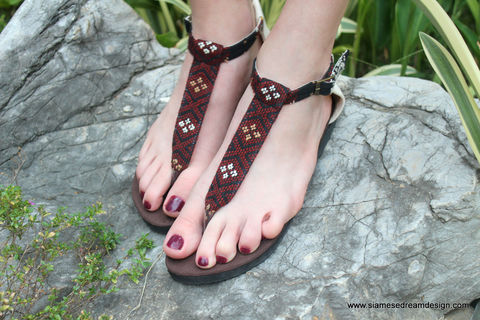 Sita,-,T,Strap,Womens,Sandals,In,Hand,Woven,Burmese,Kachin,Textiles,handmade womens vegan sandals, boho sandals, womens t strap sandals, embroidered sandals, womens flat sandals, sandals in Kachin textiles