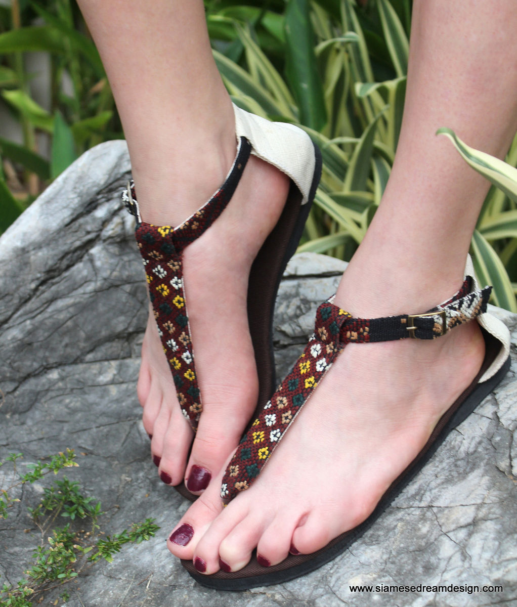 Sita - Vegan T Strap Womens Sandals In Hand Woven Burmese Kachin Textiles  - product images  of