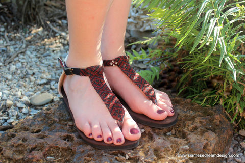 Sita,-,Brown,T,Strap,Womens,Sandals,In,Hand,Woven,Burmese,Kachin,Textiles,handmade womens vegan sandals, boho sandals, womens t strap sandals, embroidered sandals, womens flat sandals, sandals in Kachin textiles