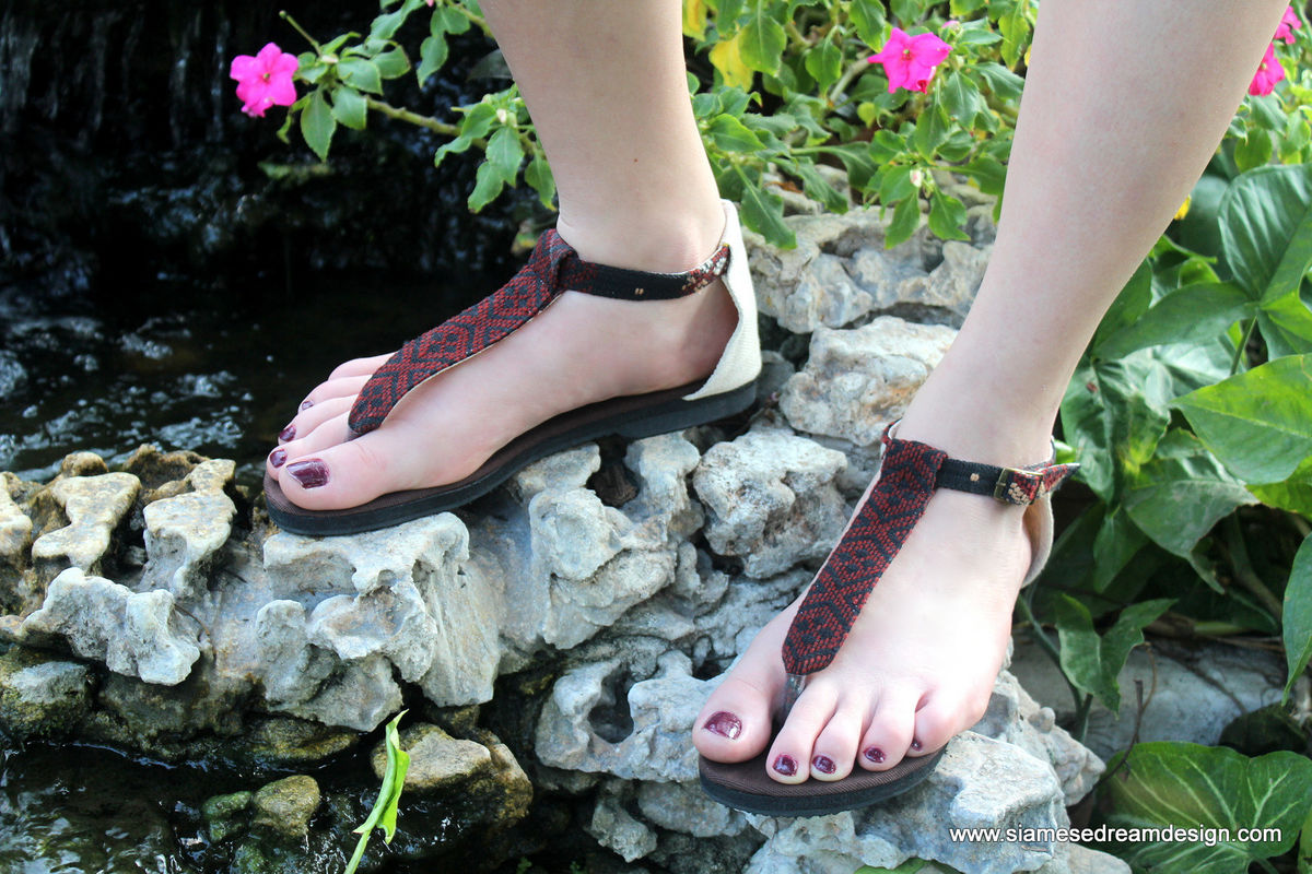 Sita - Brown T Strap Womens Sandals In Hand Woven Burmese Kachin Textiles  - product images  of