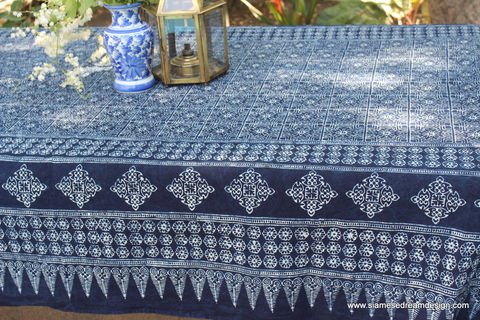 Rectangle,Table,Cloth,In,Hmong,Indigo,Batik,Cotton,Hmong indigo batik tablecloth, rectangular tablecloth, extra long tablecloth, blue cotton tablecloth, garden party decorations, garden wedding table, boho home decor, vineyard wedding tables, boho wedding