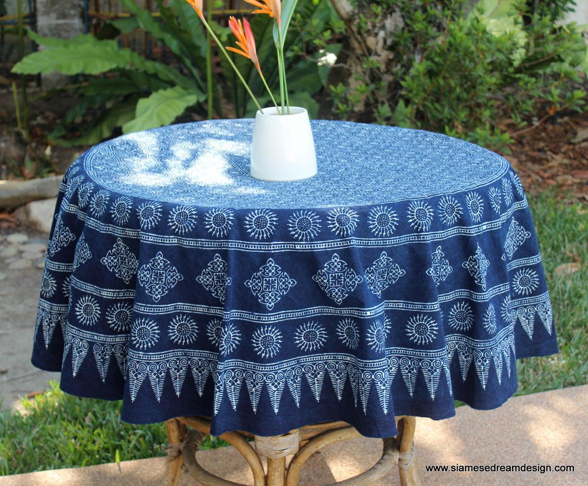 Hmong Indigo Batik Cotton Table Cloth 60 75 Or 90 Inches Round
