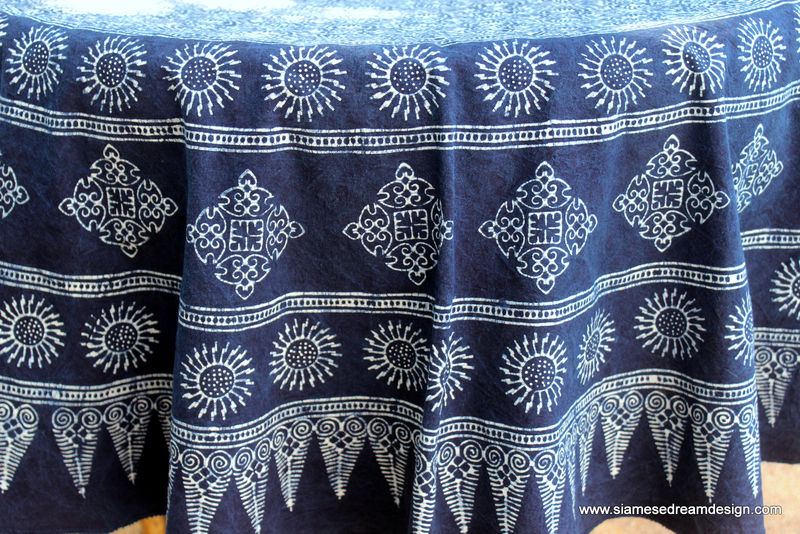 Hmong Indigo Batik Cotton Table Cloth 60 75 Or 90 Inches Round  - product images  of