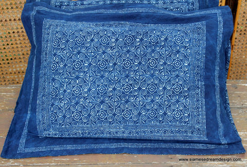 Bed,Pillow,Sham,In,Hmong,Indigo,Batik,Double,Sided,indigo batik bed pillow shams, Hmong indigo batik pillows, batik pillow covers, standard bed shams blue, handmade, boho bedding,