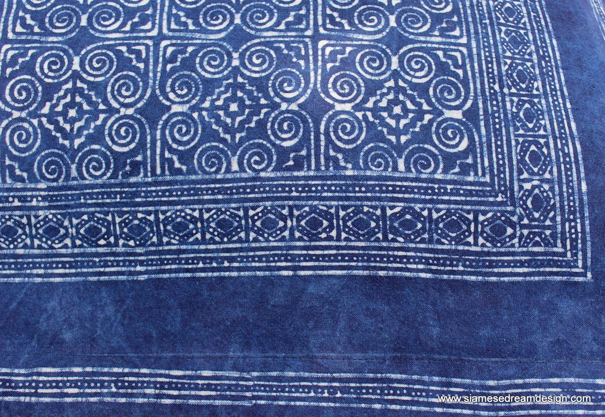 Bed Pillow Sham In Hmong Indigo Batik Double Sided  - product images  of