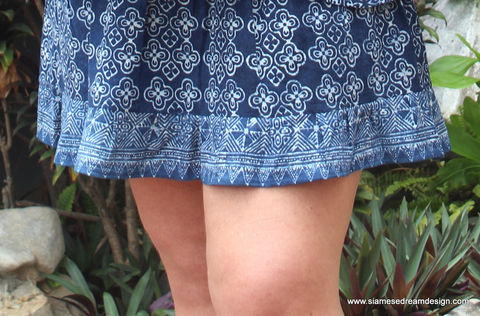 Cora,-,Womens,Hmong,Short,Skirt,In,Hand,Stamped,Indigo,Batik,womens boho skirt, womens Hmong skirt, indigo batik womens skirt, ethnic clothing, indigo batik, womens eco fashion, fair trade womens fashion