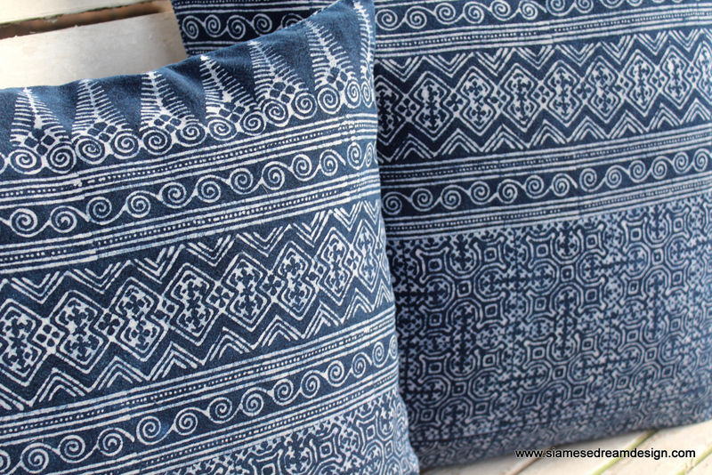 Indigo Batik Pillow Ethnic Hmong Cushion Cover  - product images  of