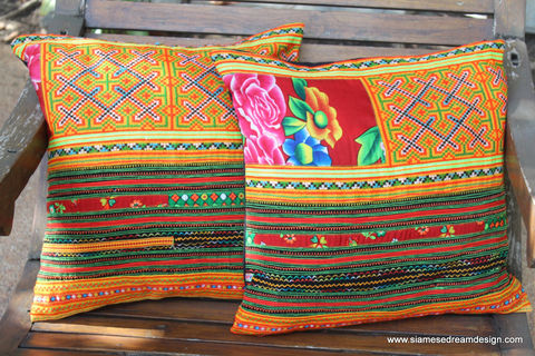 Ethnic,Hmong,Pillows,/,Cushions,Orange,Embroidery,16,,Boho Pillow,Embroidered pillow, embroidered Cushion,Orange boho pillow,Tribal,Hmong_Pillow,Hmong_Cushion,Pillow_Cover,Cushion_Cover,Ethnic_Pillow,bohemian pillows,throw_pillow,decorative,orange_pillow,cotton,Ethnic Hmong embroidery,indigo batik pillow