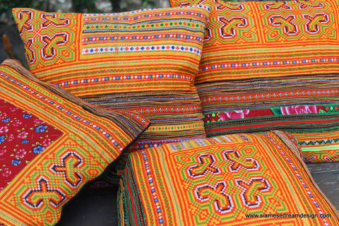 Ethnic,Hmong,Pillows,/,Embroidered,Orange,16,,Boho,Cushions,Boho Pillow,Embroidered pillow, embroidered Cushion,Orange boho pillow,Tribal,Hmong_Pillow,Hmong_Cushion,Pillow_Cover,Cushion_Cover,Ethnic_Pillow,bohemian pillows,throw_pillow,decorative,orange_pillow,cotton,Ethnic Hmong embroidery,indigo batik pillow