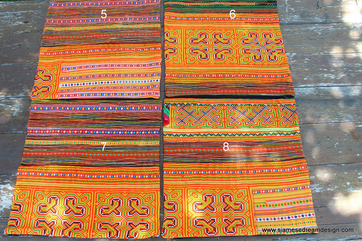 "Ethnic Hmong Pillows / Embroidered Orange 16 "" Boho Cushions - product images  of"