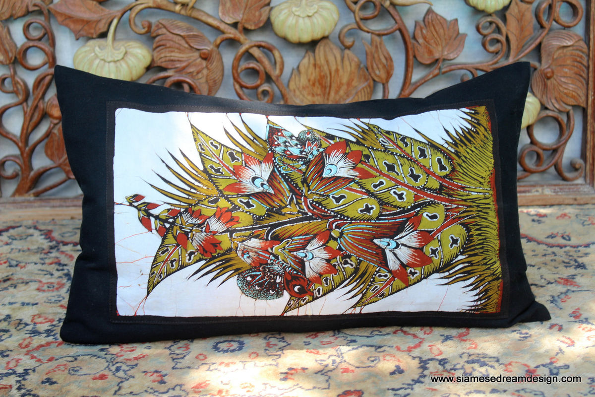 Floral Lumbar Pillow In Sri Lankan Hand Drawn Batik  - product images  of