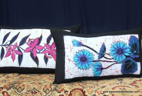 Lumbar,Pillow,In,Sri,Lankan,Hand,Drawn,Batik,Flowers,boho pillows, floral pillows, colorful lumbar pillow, Sri lankan batik cushions, lumbar pillows with flowers, orchid cushions, orange pillows, bohemian home decor, eclectic decor, ethnic