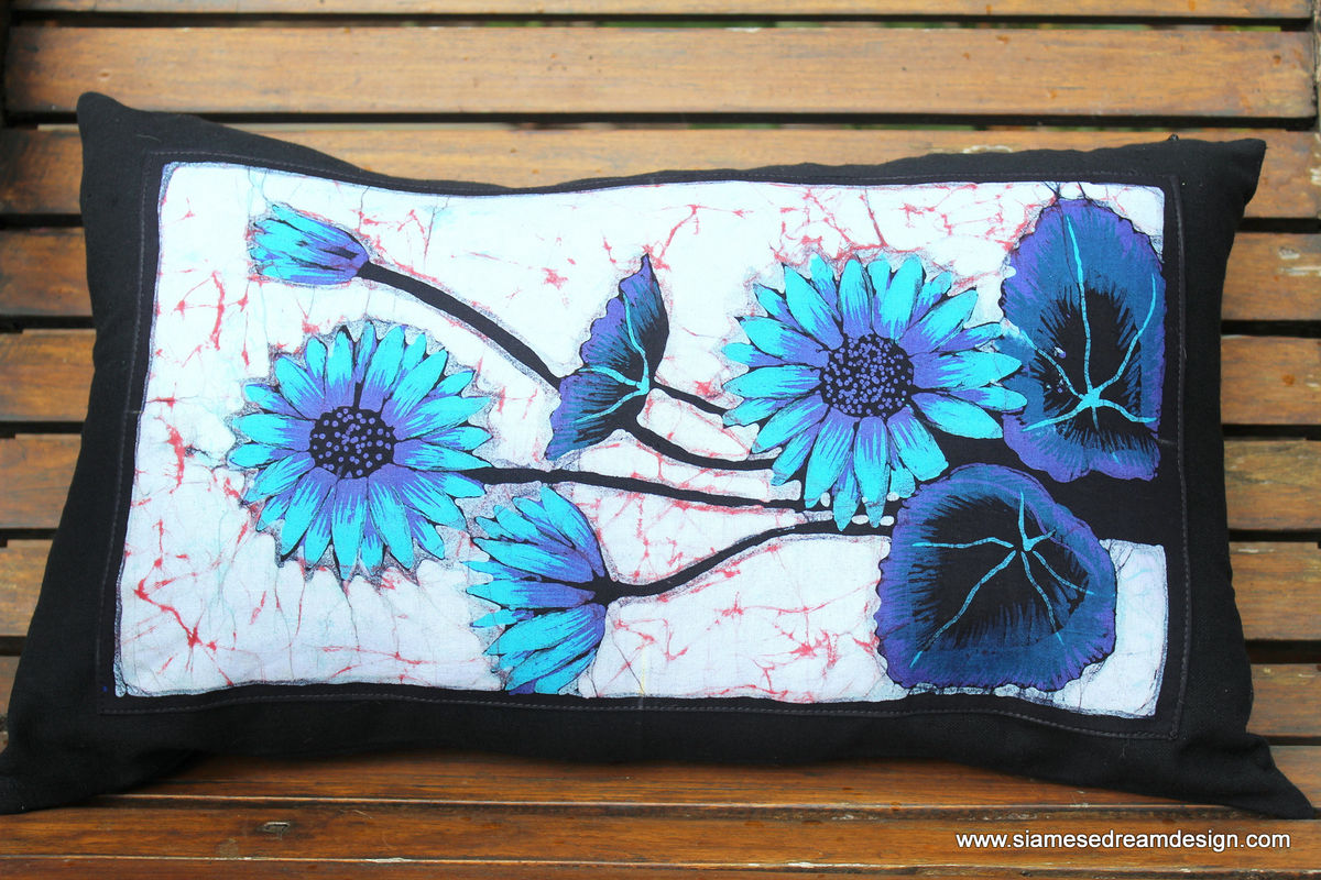 Lumbar Pillow In Sri Lankan Hand Drawn Batik Flowers - product images  of