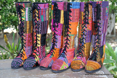 Sadie,-,Womens,Boho,Boots,In,Colorful,Vintage,Ethnic,Hmong,Patchwork,Womens boho boots,Handmade_Boots,patchwork Womens_Boots,Hmong_Boot,Embroidered_Boots,Vegan_Boots,Vegan_Shoe,Knee_High_Boots,ethnic_boots,bohemian,Boho_boots,colorful_boots