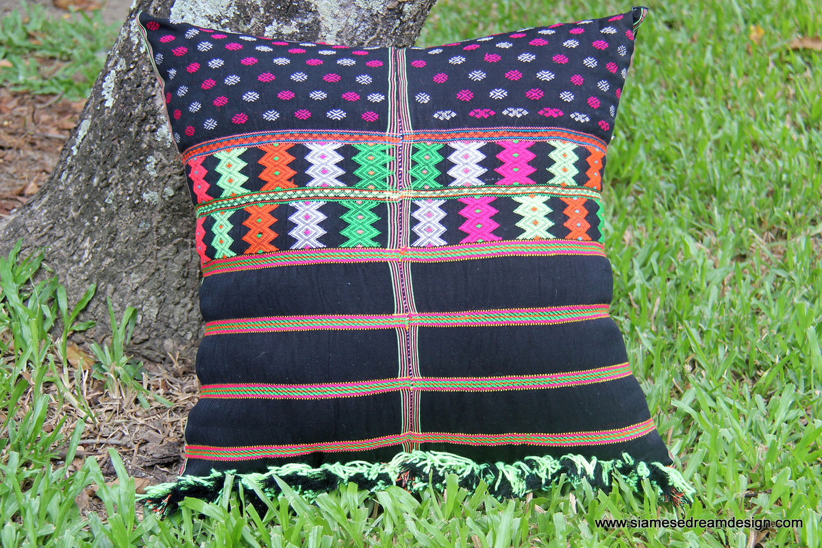 Large Boho Floor Pillow / Cushion Cover in Colorful Ethnic Karen Textiles  - product images  of
