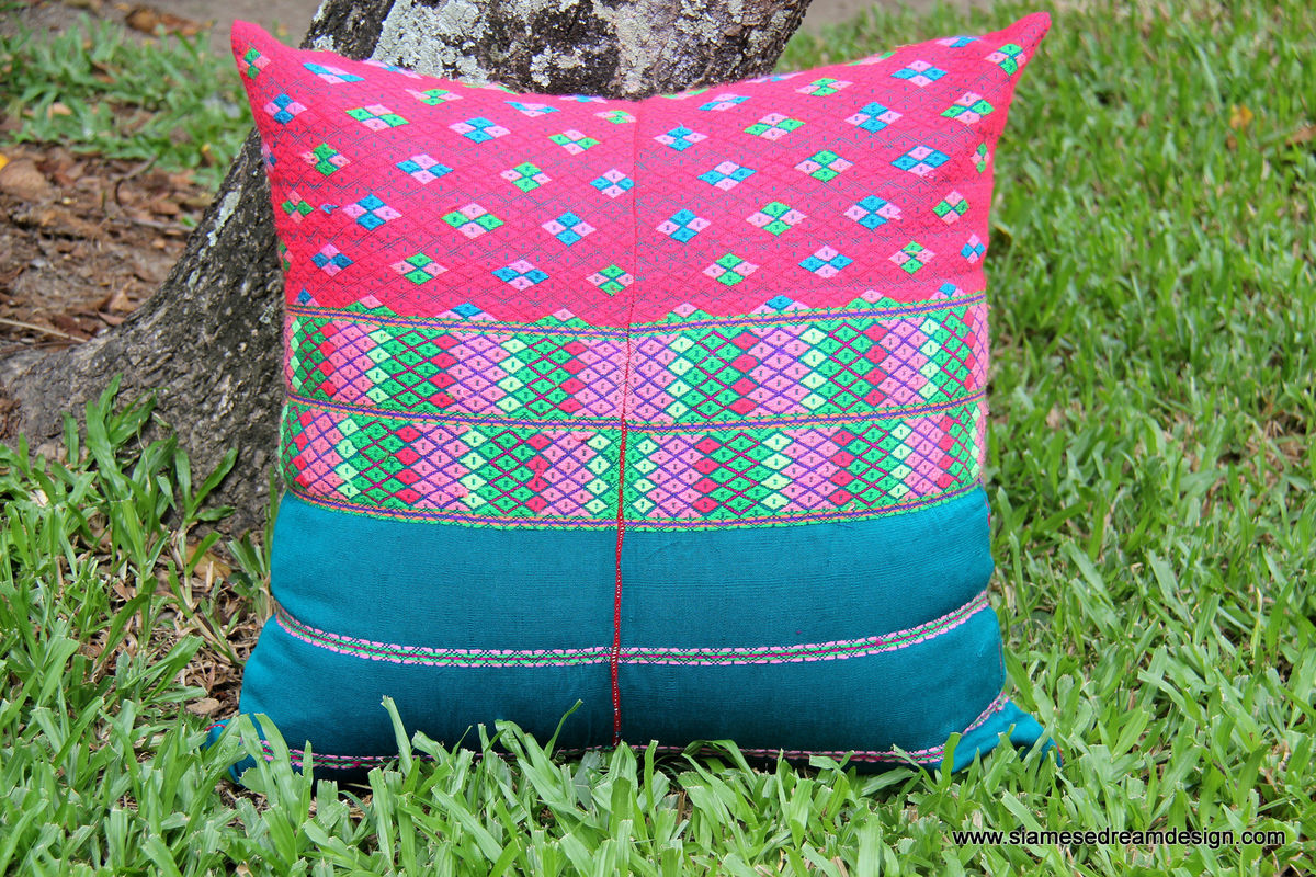 Large Boho Floor Pillow / Cushion Cover in Bright Ethnic Karen Textiles  - product images  of