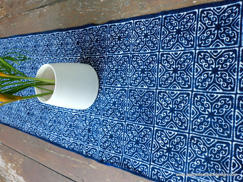 Table,Runner,In,Hmong,Indigo,Batik,Hmong indigo batik table runner, boho table runner, indigo runner, ethnic home decor, 8 foot table runner, 5 foot table runner, bohemian table