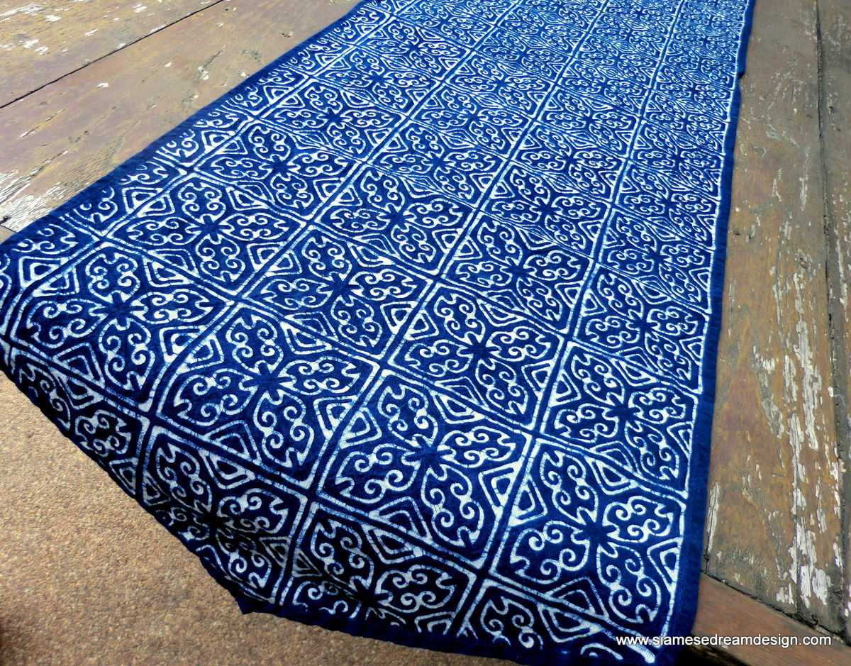 Table Runner In Hmong Indigo Batik - product images  of