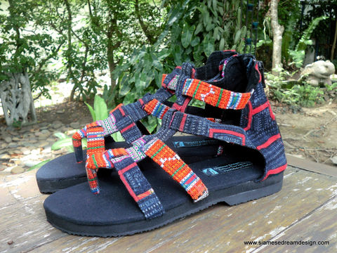 Isadora,Womens,Gladiator,Sandals,In,Tangerine,Hmong,Embroidery,Clothing,Shoes,orange womens Sandals,Ethnic sandals,womens Vegan  sandals,Embroidered Sandals,Colorful,Tribal_Sandals,Womens_Shoes,Gladiator_sandals,Boho,Womens_sandals,strappy_sandals,cotton,natural cotton,embroidered,vegan