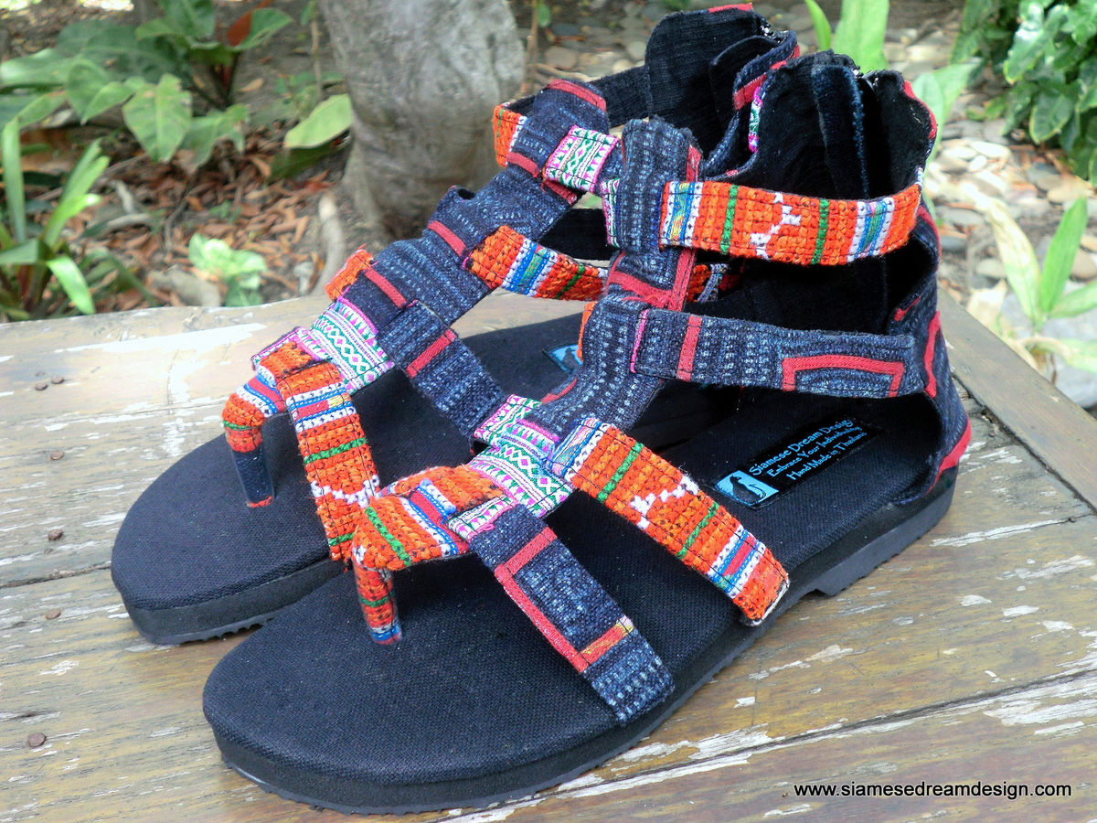 Isadora Womens Gladiator Sandals In Tangerine Hmong Embroidery  - product images  of