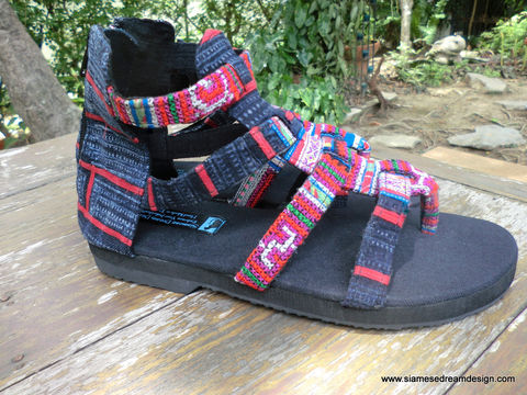 Isadora,Womens,Gladiator,Sandals,In,Fuchsia,Hmong,Embroidery,Clothing,Shoes,pink womens Sandals,Ethnic sandals,womens Vegan  sandals,Embroidered Sandals,Colorful,Tribal_Sandals,Womens_Shoes,Gladiator_sandals,Boho,Womens_sandals,strappy_sandals,cotton,natural cotton,embroidered,vegan