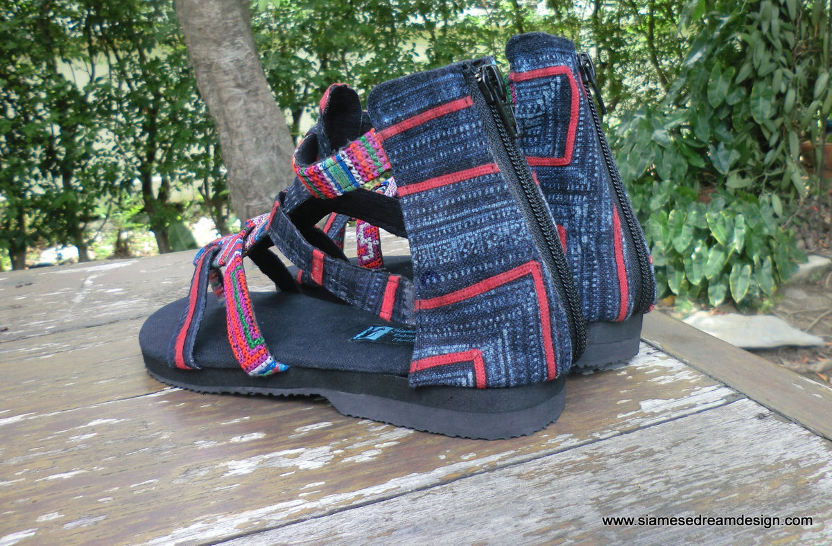 Isadora Womens Gladiator Sandals In Fuchsia Hmong Embroidery  - product images  of