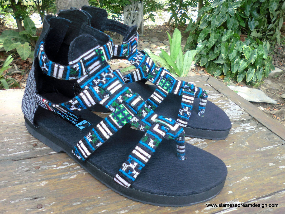 Isadora Boho Womens Gladiator Sandals In Teal Hmong Embroidery  - product images  of