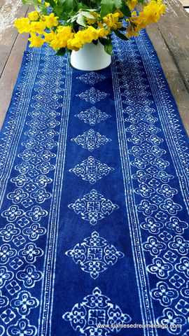 Table,Runner,In,Natural,Hmong,Indigo,Blue,Batik,94,Inch,boho decor,garden party decorations,Table linens,Hmong table Runner,Hmong indigo batik,garden wedding ideas,boho wedding,accent,indigo batik table_runner,dresser_runner,indigo,natural,cotton,blue,batik,natural indigo dye