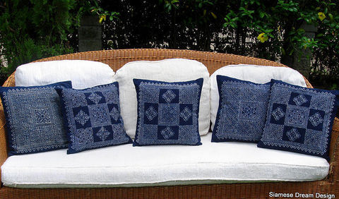 16,or,20,inch,Indigo,Batik,Hmong,Pillow,/,Cushion,Hmong Pillow,boho pillow,cushion,covers,throw pillow,accent,16 inch indigo batik pillow,20 inch ethnic pillow,bohemian decor,indigo_batik,beach,decor,blue_pillow,cotton,batik,indigo dye