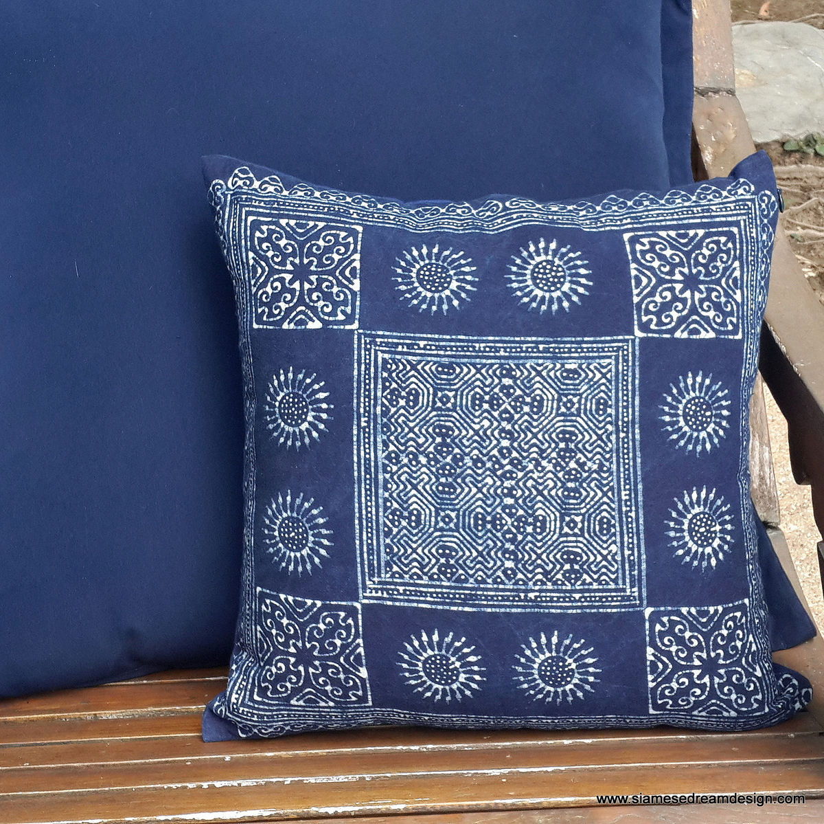 16 or 20 inch Indigo Batik Hmong Pillow / Cushion  - product images  of