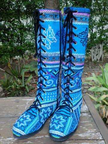 Sadie,-,Womens,Tall,Boots,In,Brilliant,Blue,Hmong,Embroidery, Shoes,Womens boho boots,Vegan_Boots,blue boots,Tribal_Boots,Unique_Boots,Handmade_Boots,Womens_Boots,bohemian boots,vegan